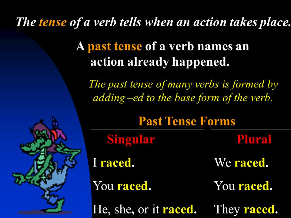 The tense of a verb tells when an action takes place.