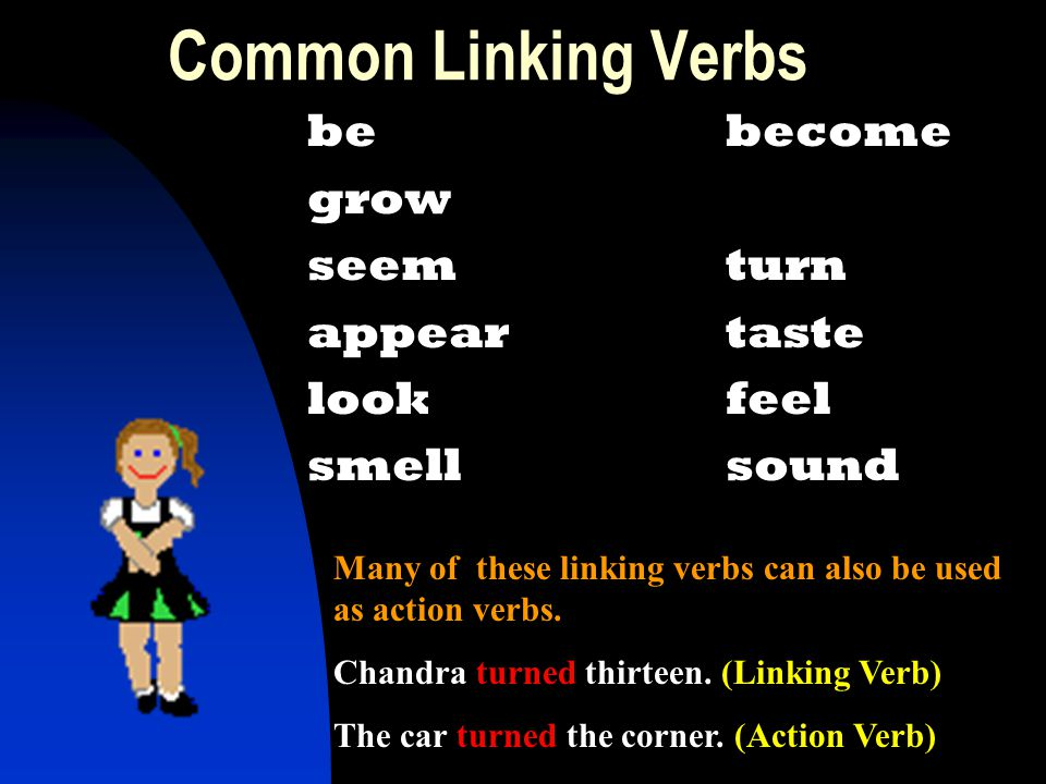 Common Linking Verbs be become grow seem turn appear taste look feel