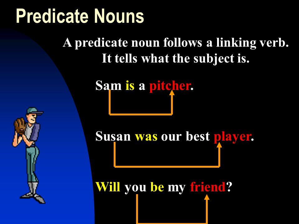 A predicate noun follows a linking verb. It tells what the subject is.