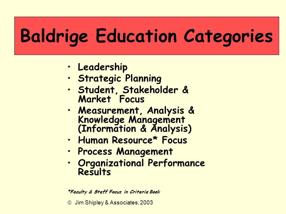 Baldrige Education Categories
