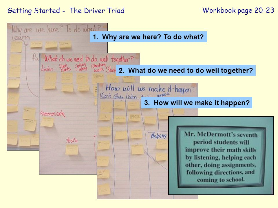 Getting Started - The Driver Triad Workbook page 20-23