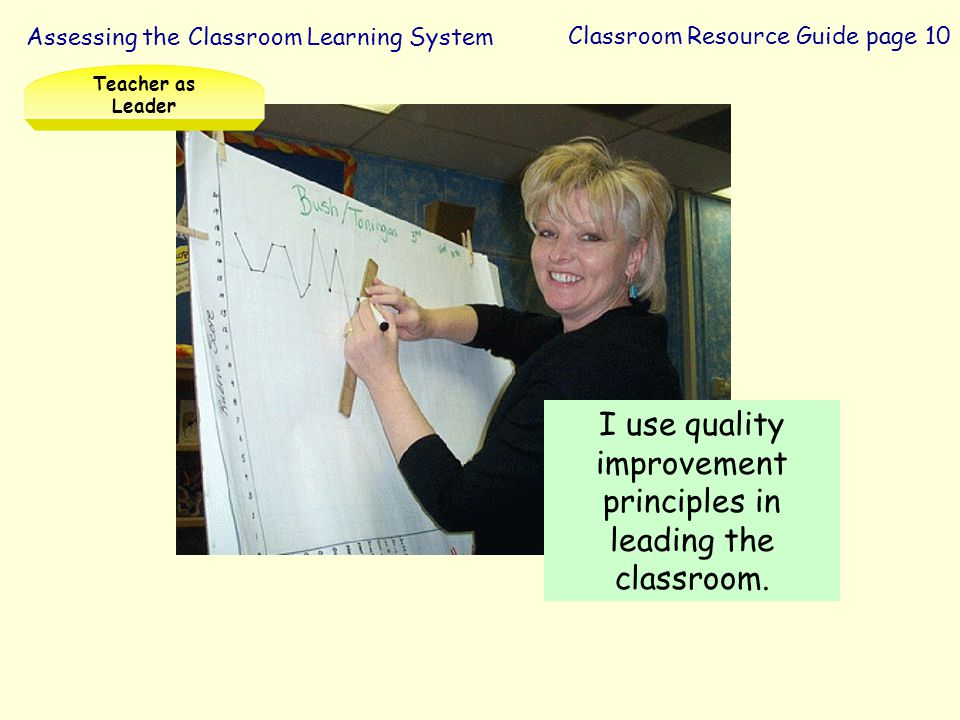 I use quality improvement principles in leading the classroom.