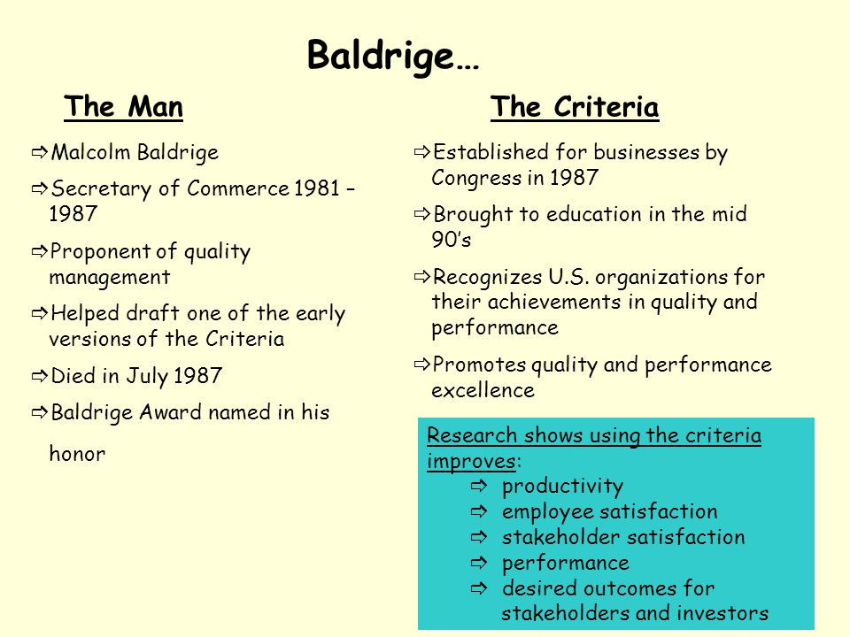 Baldrige… The Man The Criteria Malcolm Baldrige