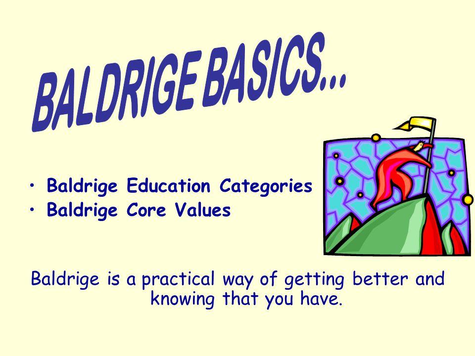 BALDRIGE BASICS... Baldrige Education Categories Baldrige Core Values