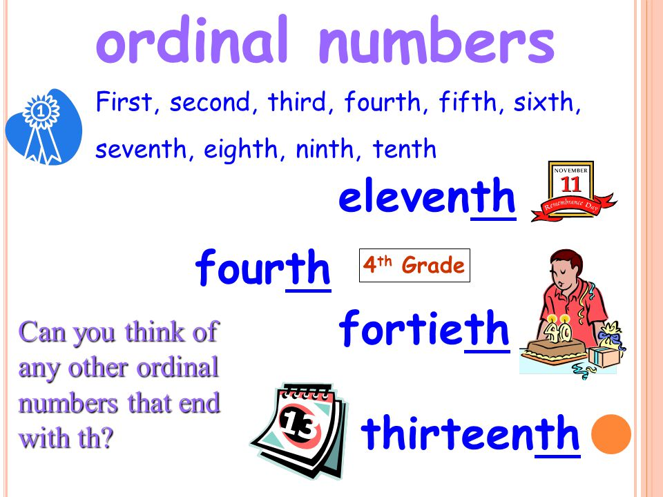 ordinal numbers eleventh fourth fortieth thirteenth