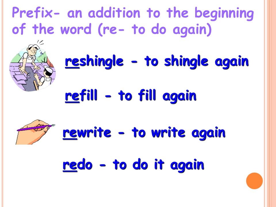 Prefix- an addition to the beginning of the word (re- to do again)