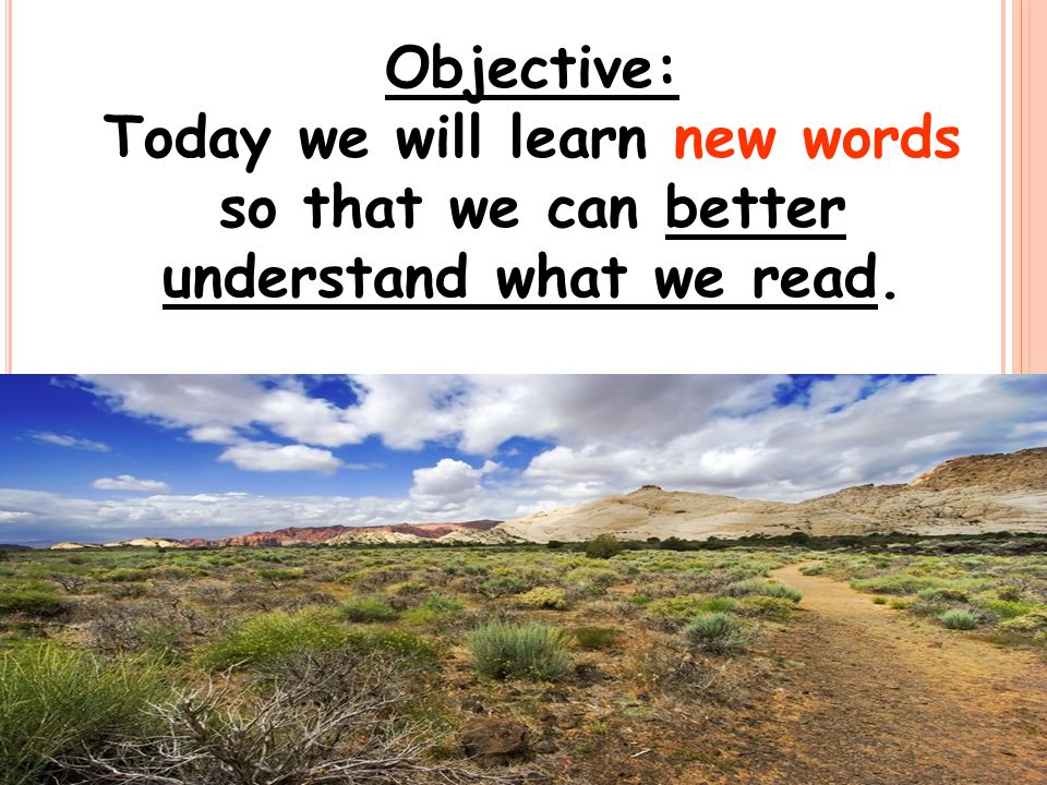 Objective: Today we will learn new words so that we can better understand what we read.