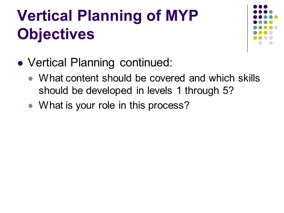 Vertical Planning of MYP Objectives