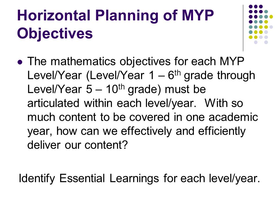 Horizontal Planning of MYP Objectives