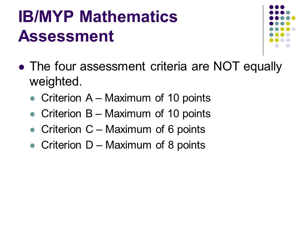 IB/MYP Mathematics Assessment