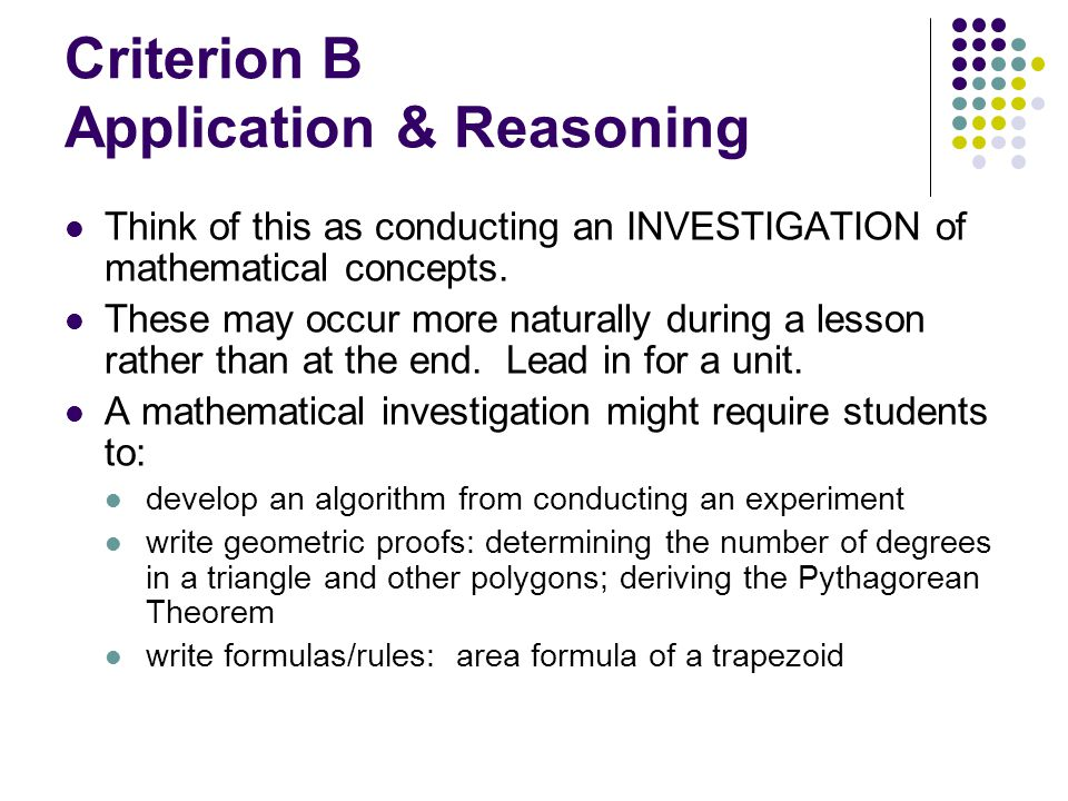Criterion B Application & Reasoning