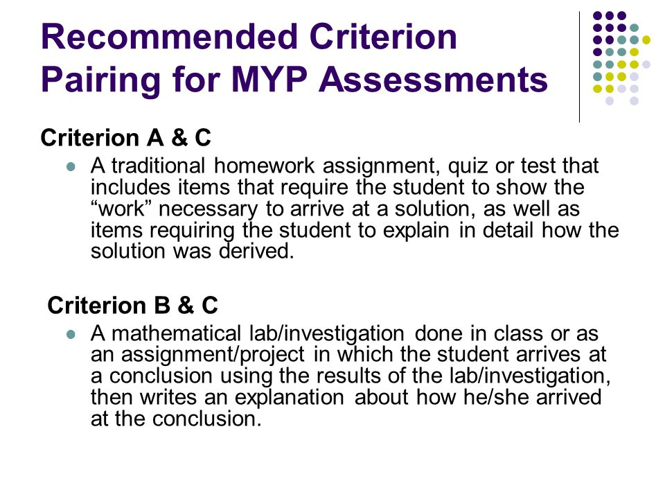 Recommended Criterion Pairing for MYP Assessments