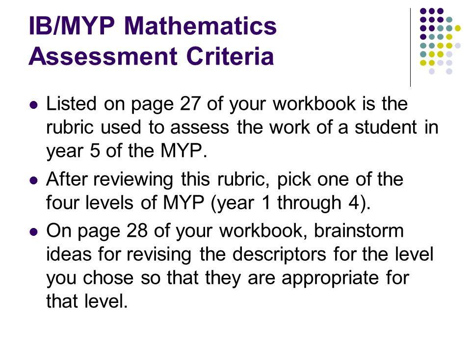 IB/MYP Mathematics Assessment Criteria