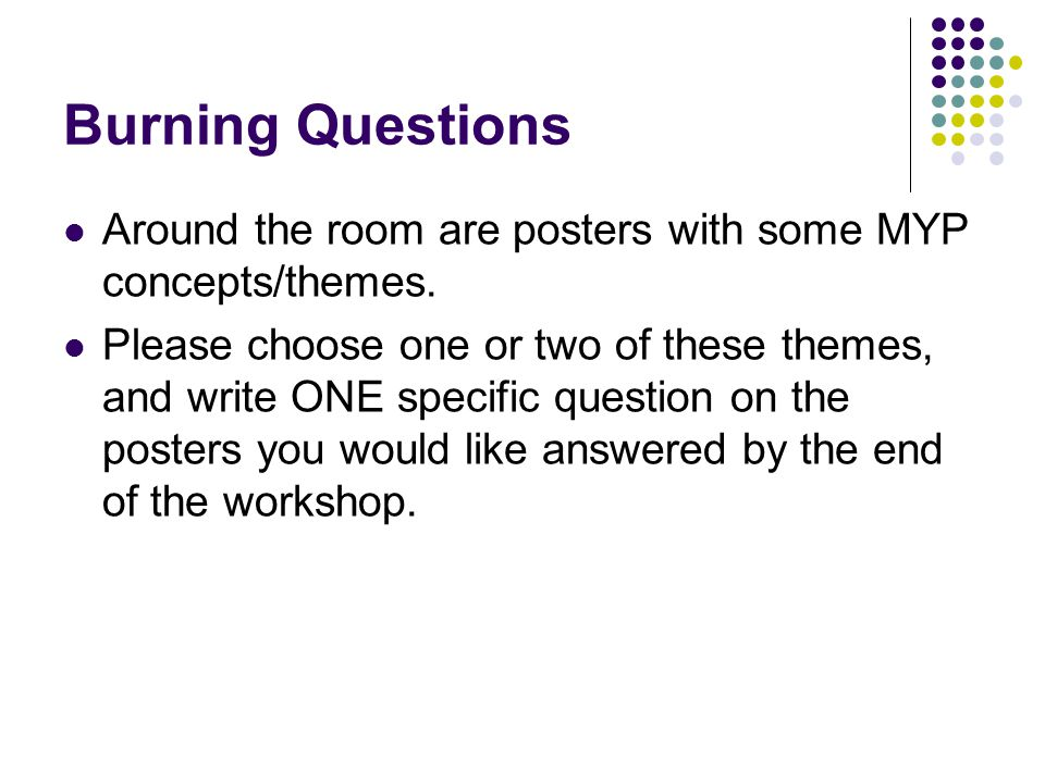 Burning Questions Around the room are posters with some MYP concepts/themes.