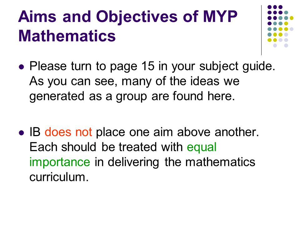 Aims and Objectives of MYP Mathematics