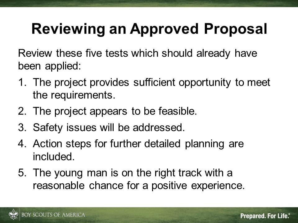Reviewing an Approved Proposal