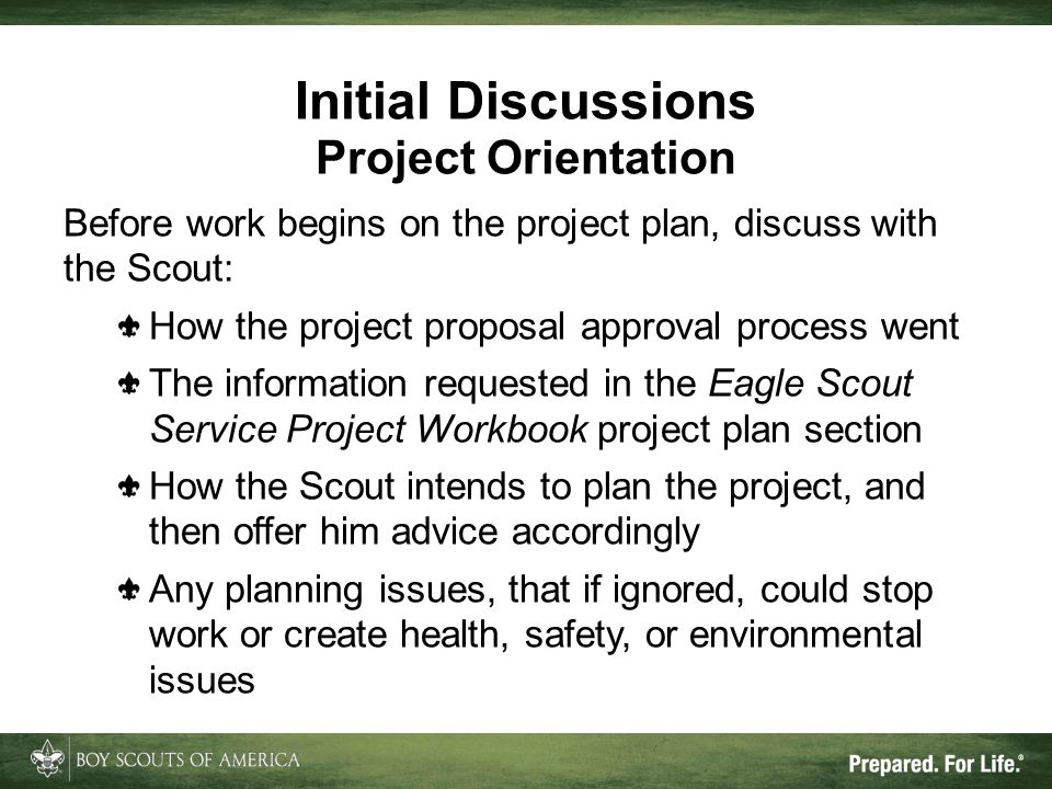 Initial Discussions Project Orientation
