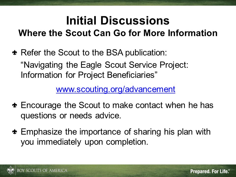 Initial Discussions Where the Scout Can Go for More Information