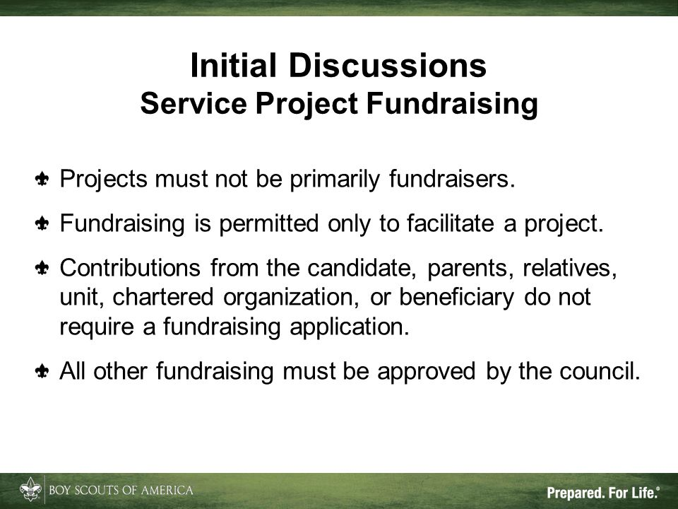 Initial Discussions Service Project Fundraising
