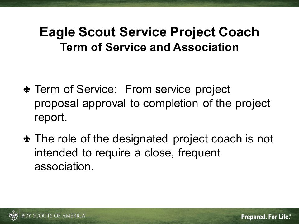 Eagle Scout Service Project Coach Term of Service and Association