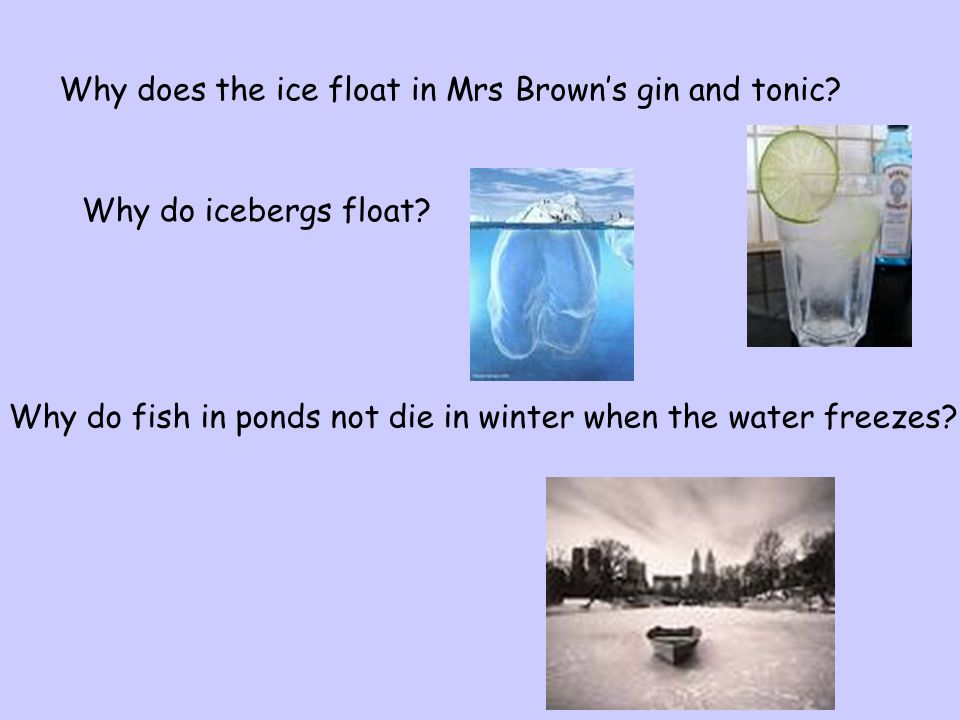 Why does the ice float in Mrs Brown's gin and tonic