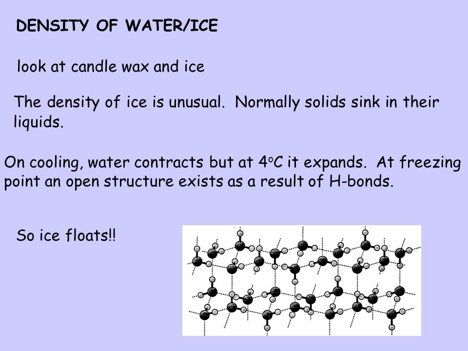 DENSITY OF WATER/ICE look at candle wax and ice. The density of ice is unusual. Normally solids sink in their liquids.