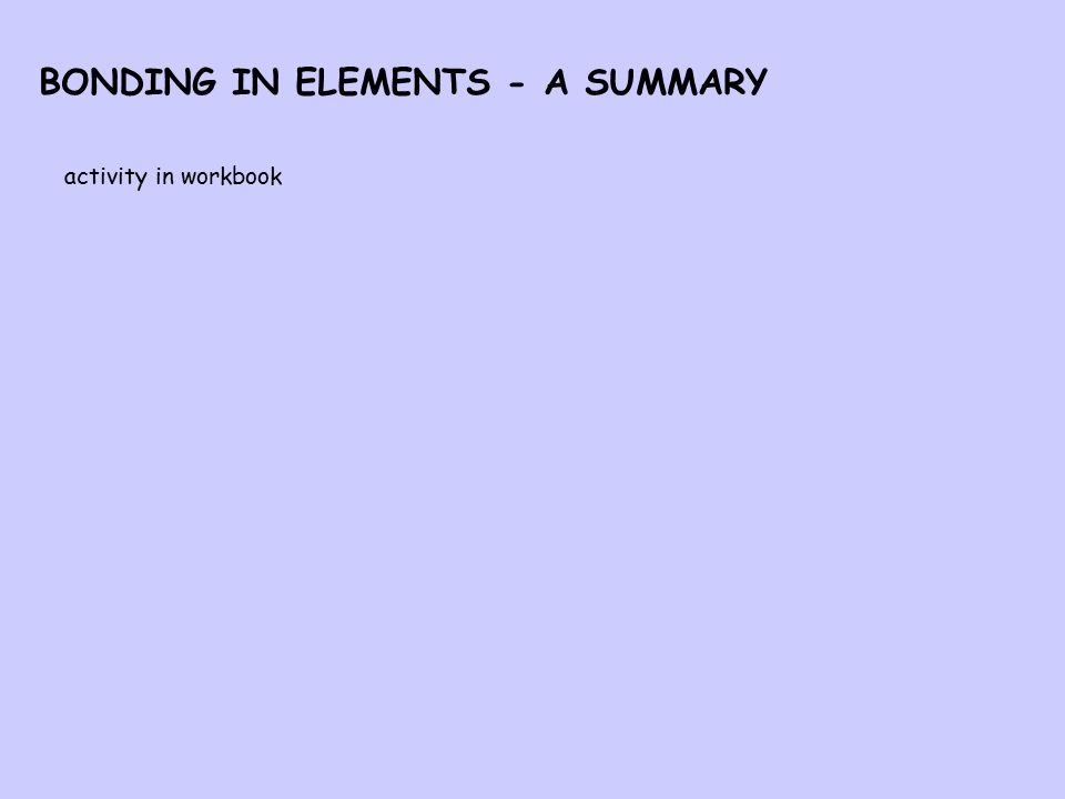 BONDING IN ELEMENTS - A SUMMARY