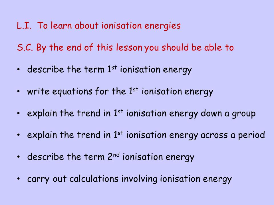 L.I. To learn about ionisation energies