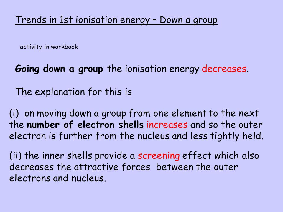 Trends in 1st ionisation energy – Down a group