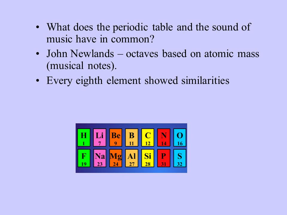 What does the periodic table and the sound of music have in common