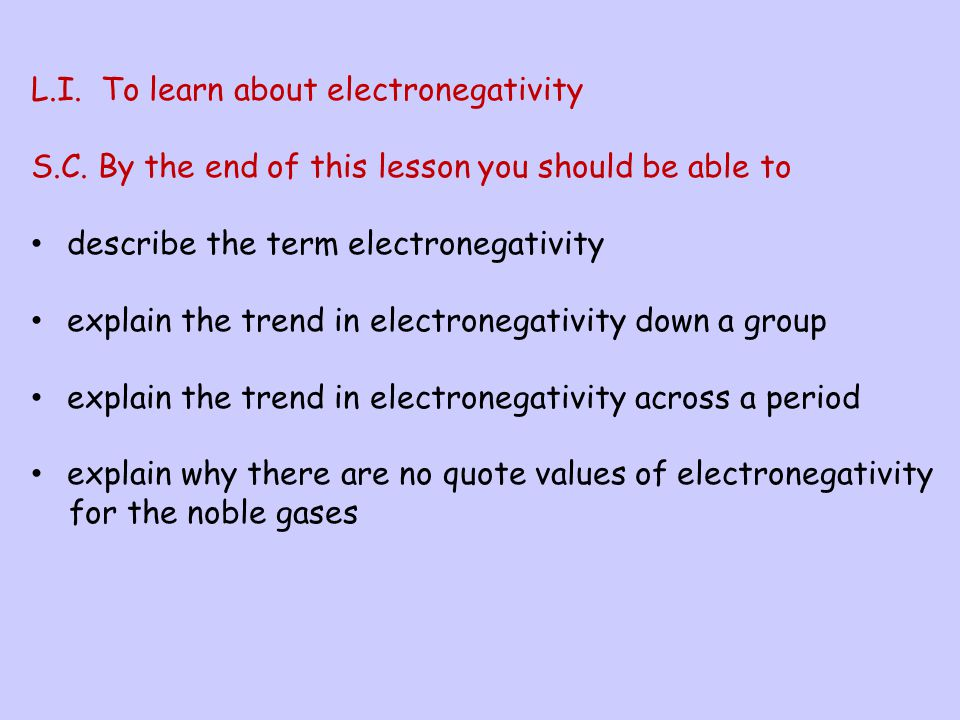 L.I. To learn about electronegativity