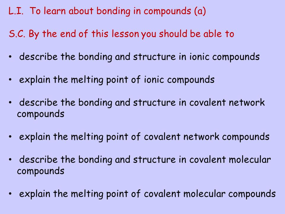 L.I. To learn about bonding in compounds (a)