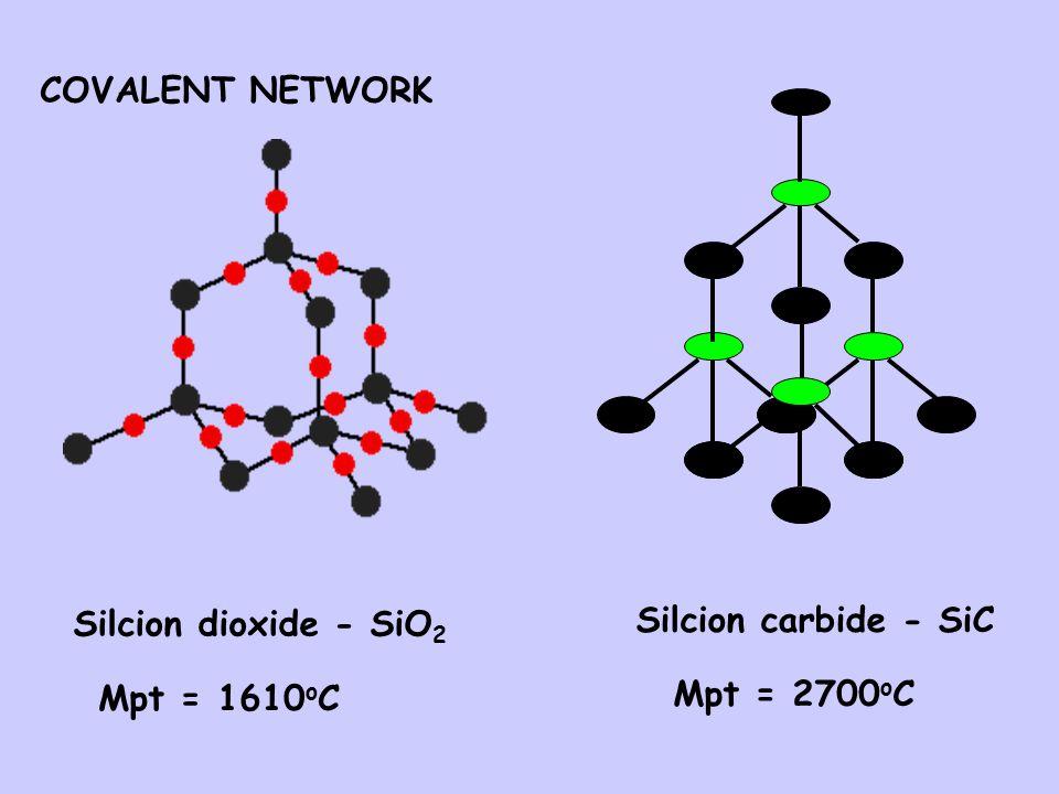 COVALENT NETWORK Silcion dioxide - SiO2 Silcion carbide - SiC Mpt = 1610oC Mpt = 2700oC