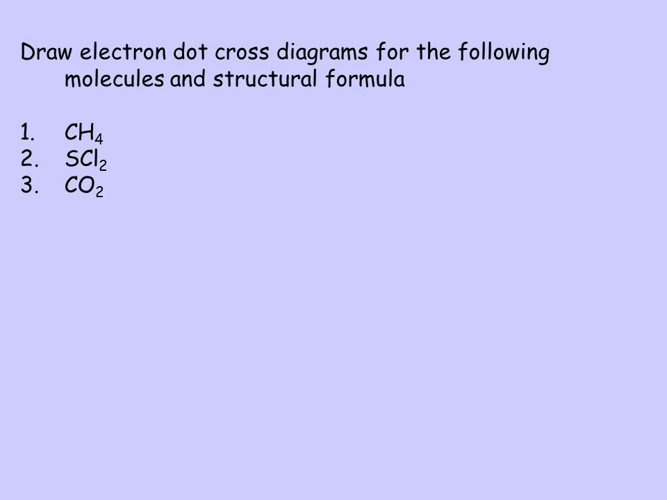 Draw electron dot cross diagrams for the following molecules and structural formula