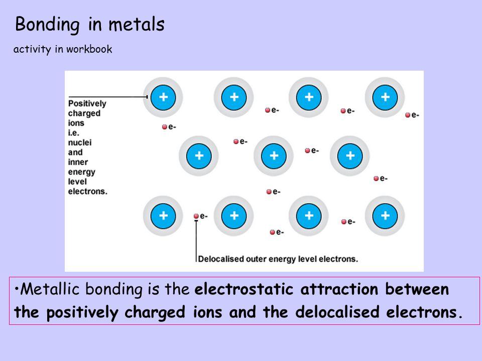 Bonding in metals activity in workbook. Metallic bonding is the electrostatic attraction between.