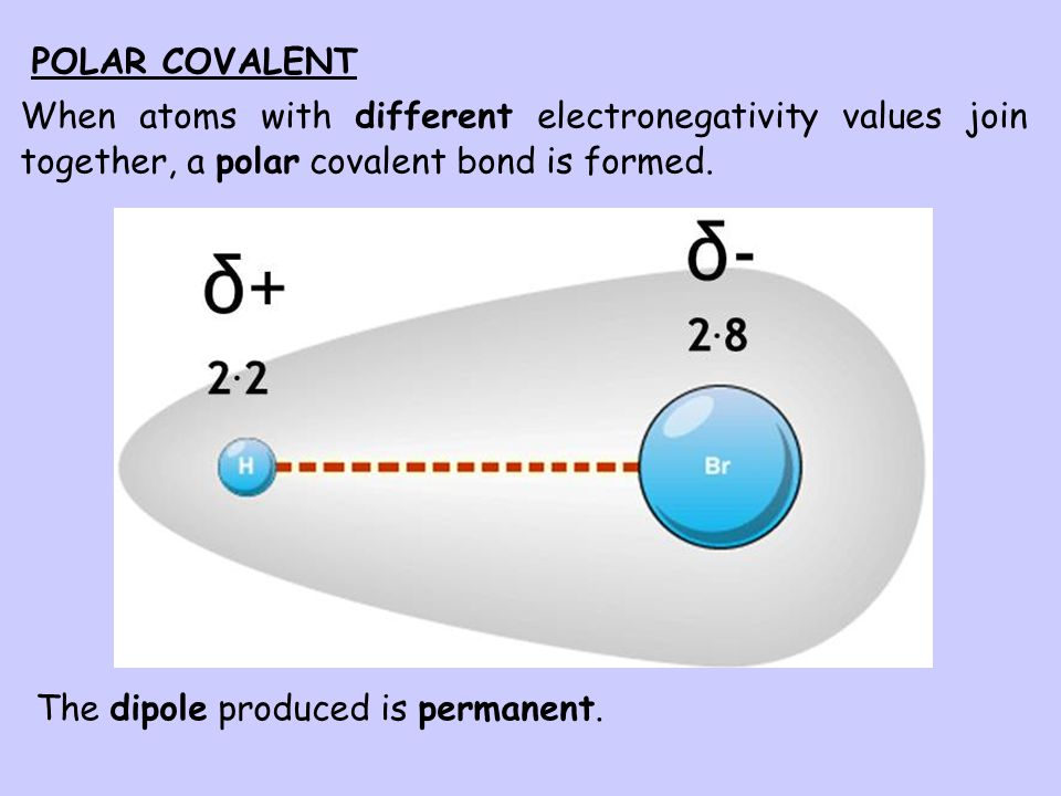 POLAR COVALENT When atoms with different electronegativity values join together, a polar covalent bond is formed.