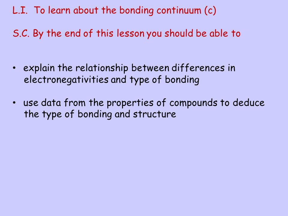 L.I. To learn about the bonding continuum (c)