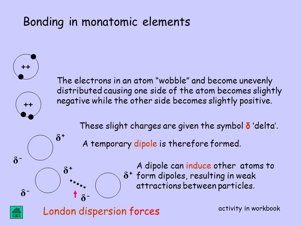 Bonding in monatomic elements