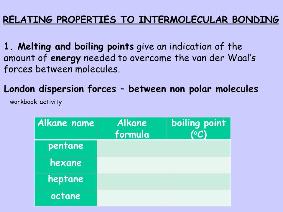 RELATING PROPERTIES TO INTERMOLECULAR BONDING