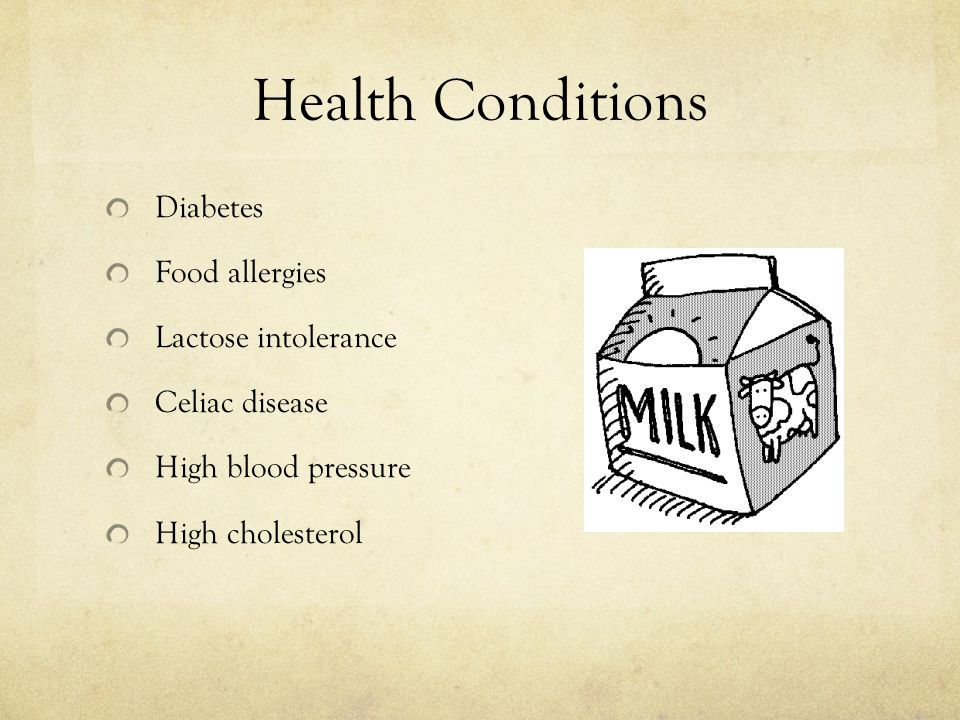 Health Conditions Diabetes Food allergies Lactose intolerance