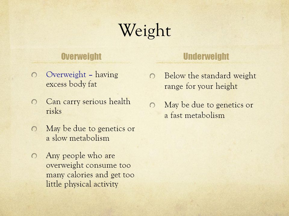 Weight Overweight Underweight Overweight – having excess body fat