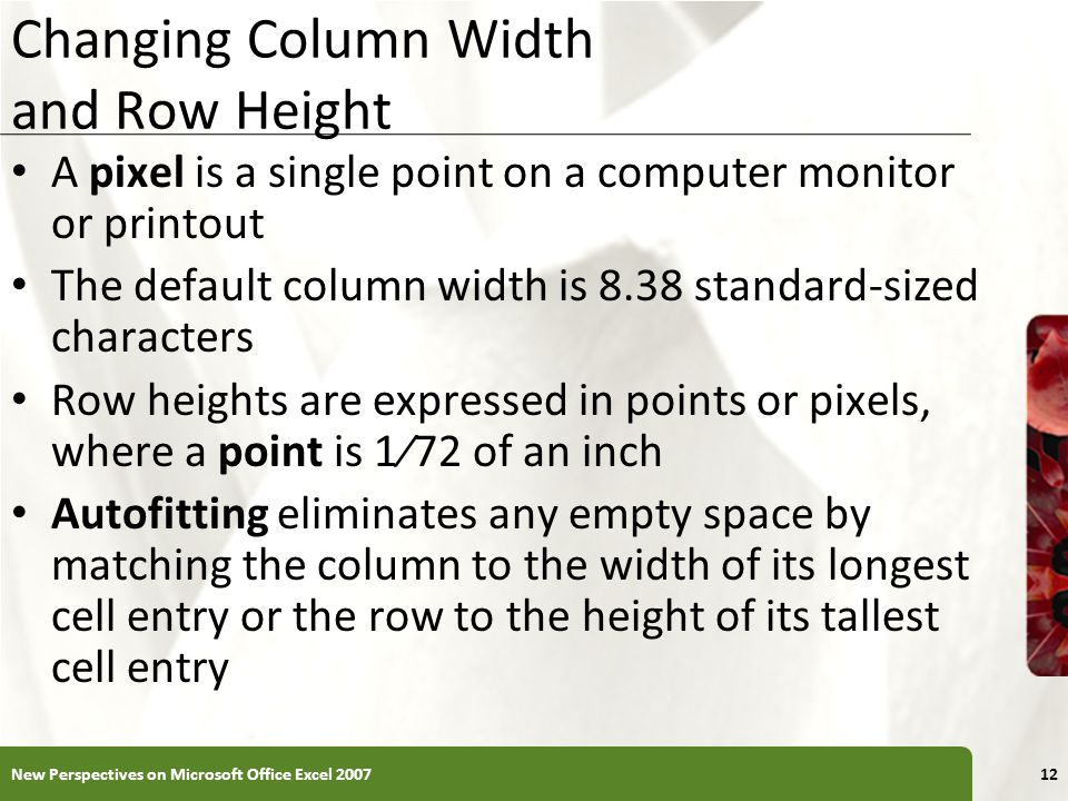 Changing Column Width and Row Height