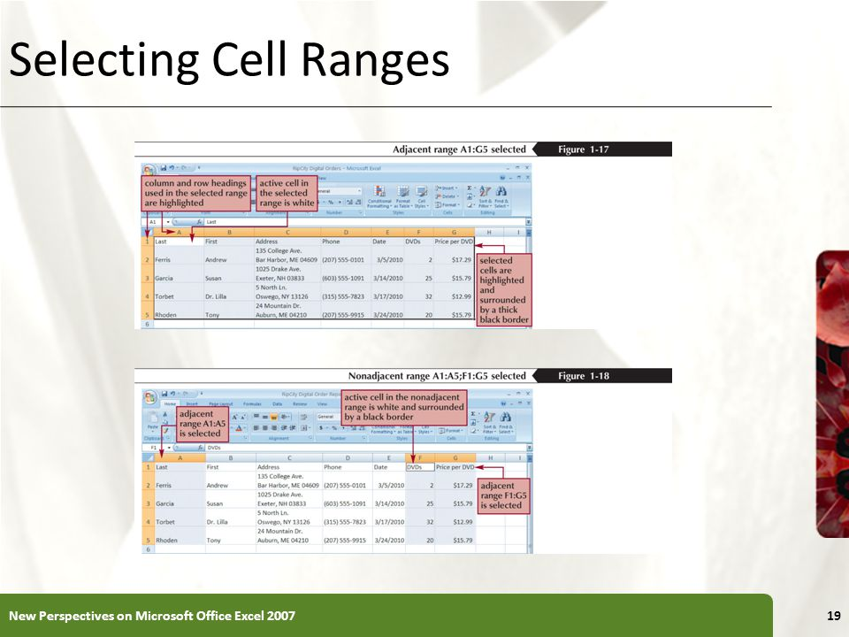 Selecting Cell Ranges New Perspectives on Microsoft Office Excel 2007