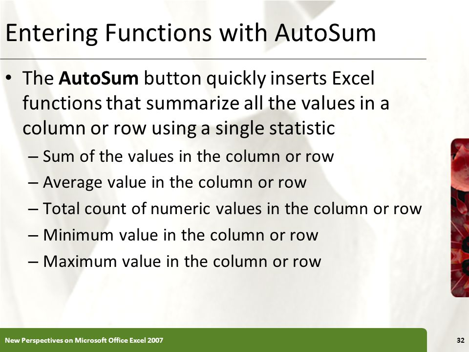 Entering Functions with AutoSum