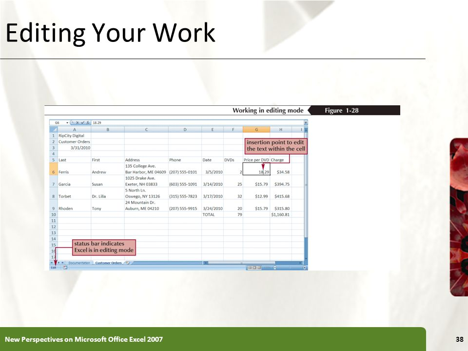 Editing Your Work New Perspectives on Microsoft Office Excel 2007