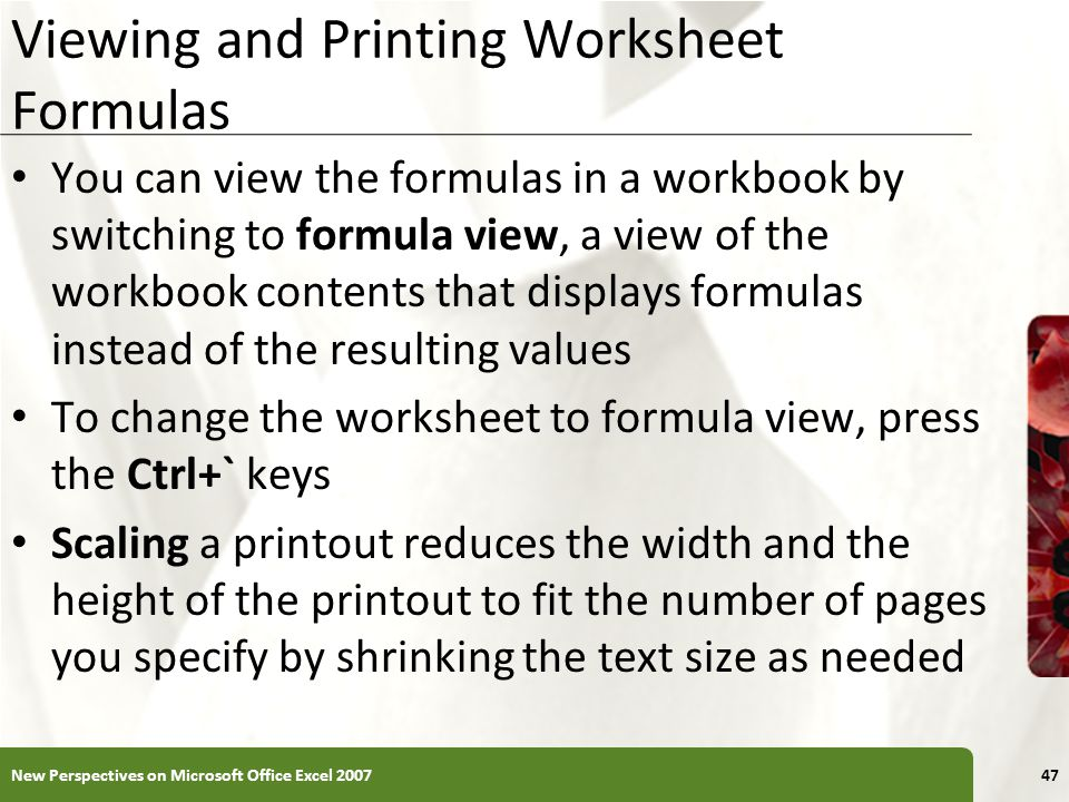 Viewing and Printing Worksheet Formulas