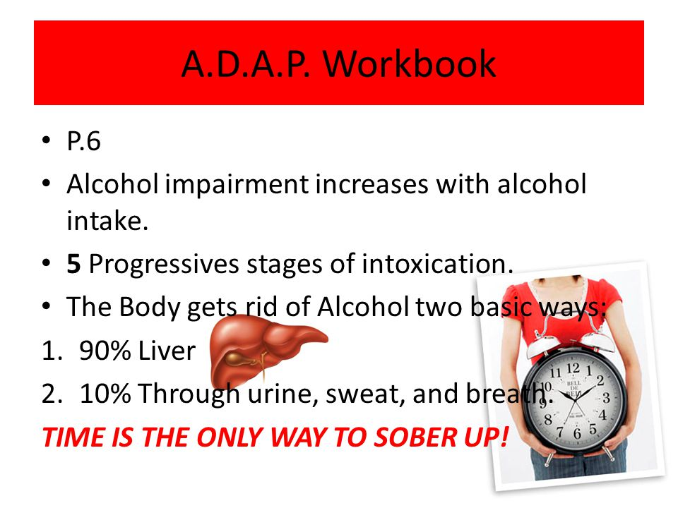 A.D.A.P. Workbook P.6. Alcohol impairment increases with alcohol intake. 5 Progressives stages of intoxication.