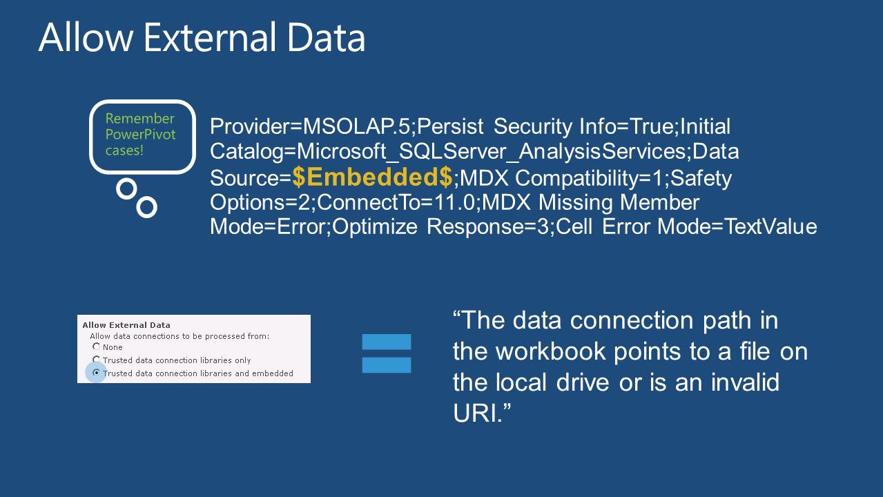 Allow External Data Remember PowerPivot cases!