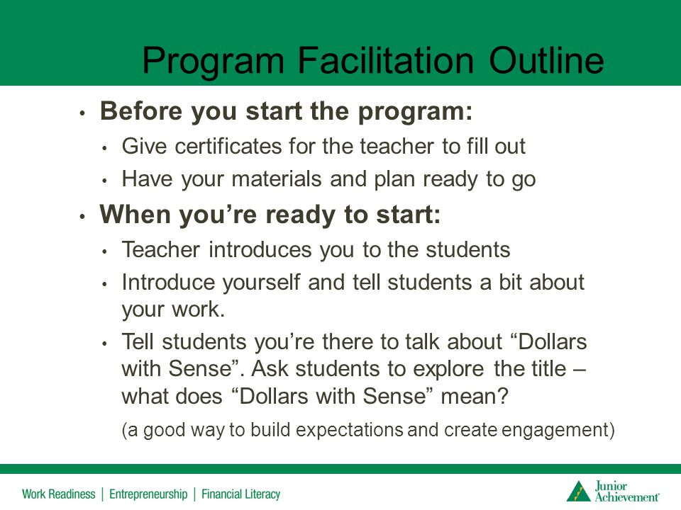 Program Facilitation Outline