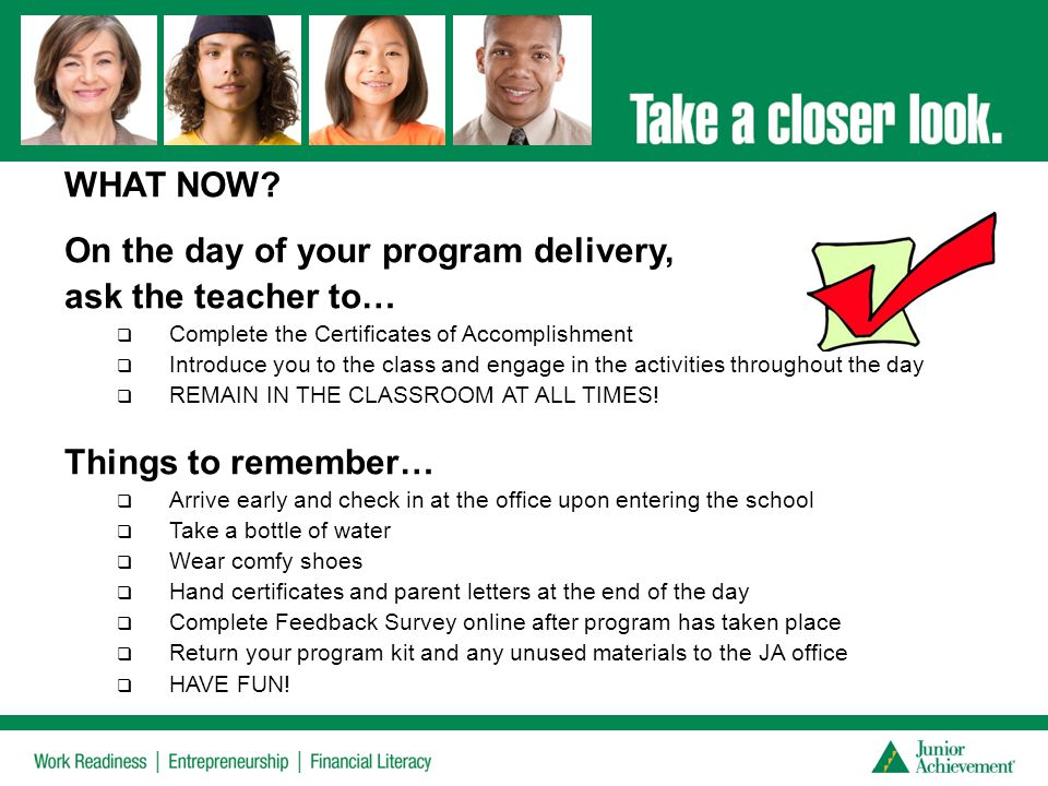 On the day of your program delivery, ask the teacher to…